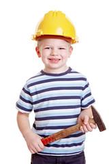 Kleinkind als Bauarbeiter