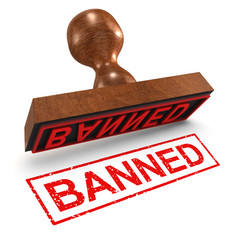 "3d Rubber Stamp - ""Banned"""