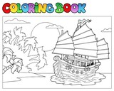 Coloring book with Chinese ship - 31079194