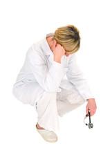 female doctor concerned