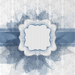 Biglietto romantico con fiori blu- Template  for greeting card
