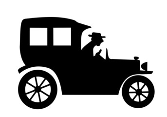 silhouette of the old-time car on white background