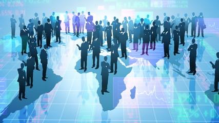 Team of businessman. Global communication.