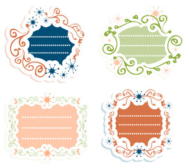 Label vintage Blank frames-stickers Retro style