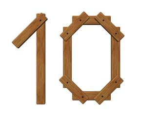 wooden number ten