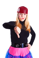 A girl dressed as a pirate with a thumb down