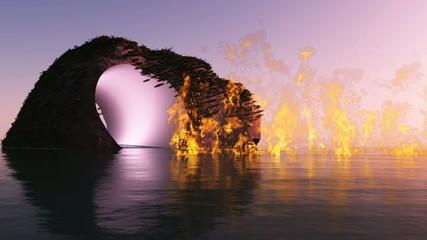 Flammen auf dem See
