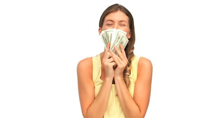 Woman showing her money