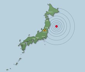 Karte Japan Erdbeben, Tsunami. Atomunfall