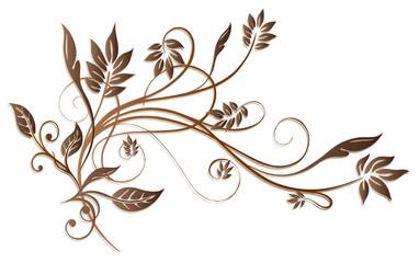 Ranke, flora, filigran, Blätter, Laub, braun, vector