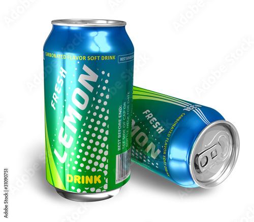 Lemon soda drinks in metal cans