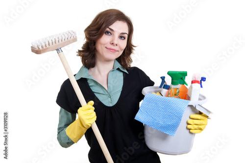 putzfrau mit eimer und schrubber von distrikt3. Black Bedroom Furniture Sets. Home Design Ideas