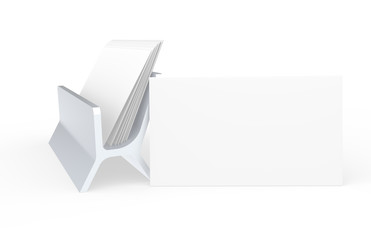 Blank Business Card, leaning on Card Holder. Copy-Space