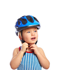Little boy in a protective helmet