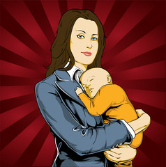Modern woman holding baby
