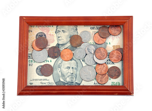 Portrait of a money, dollar and coin in wooden frame