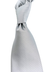 Silver Silk Necktie on White