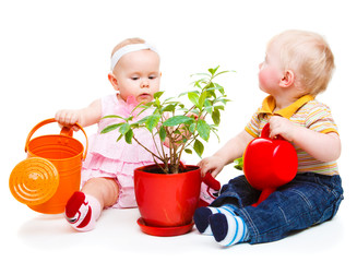 Kids with watering pots