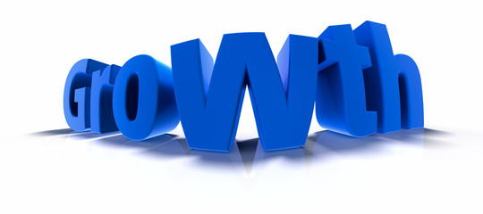 Growth in blue over white background