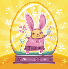 Easter Bunny inside of crystal ball