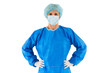 """female surgeon standing with coat"