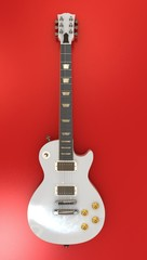White Guitar on red background