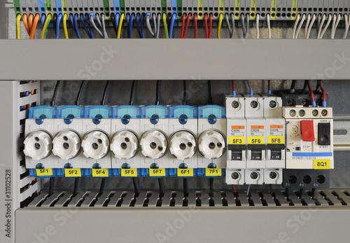 Leinwanddruck Bild Schaltkasten Elektro Sicherung