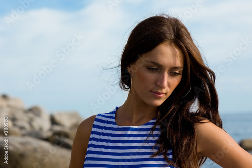 Portrait of a beautiful pensive girl