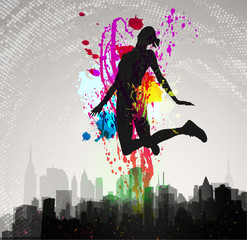 Girl jumping over city.