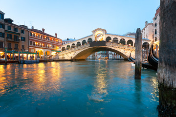 Venice, View of Rialto Bridge.