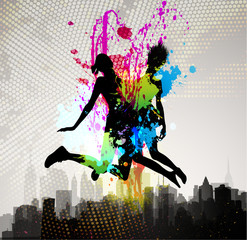 Girls jumping over city.