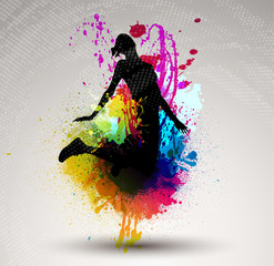 Girl jumping over ink splash background.