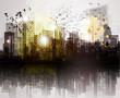 Grunge city panorama.