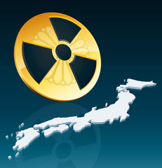 Radioactivity symbol with Japanese Imperial Seal and map