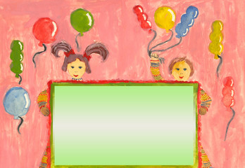 Child painted greeting card with children