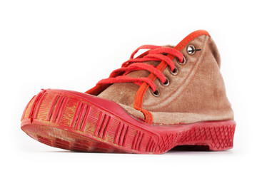heavy used old red sport shoes, sneakers