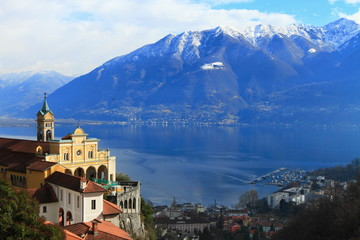 Madonna del Sasso and lake Maggiore at Locarno,  Switzerland