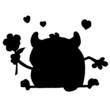 Solid Black Silhouette Of A Monster And Flower