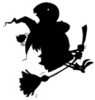 Solid Black Silhouette Of A Flying Witch And Spider