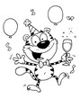 Outlined Party Tiger Character With Champagne