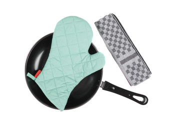 Kitchen glove in pan with grater isolaetd
