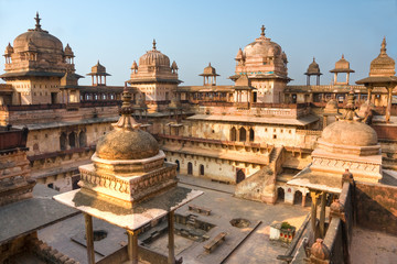 Orcha's Palace at sunset, India.