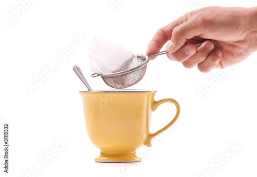 Steeping a Tea Bag with a Strainer