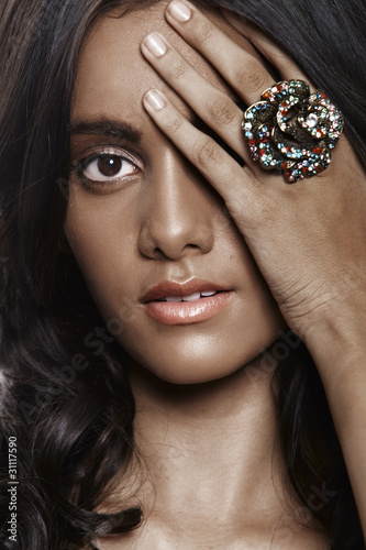 beautiful woman with flower ring.