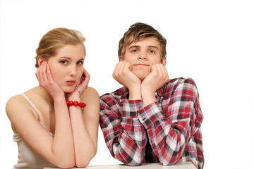 Nervous couple waiting for result