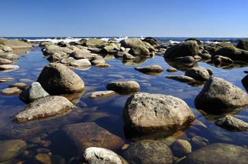 Idyllic spring coast Swedish landscape