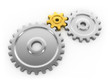 Three gears working together. Golden gear is a key link.