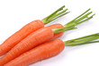 The carrots on a white
