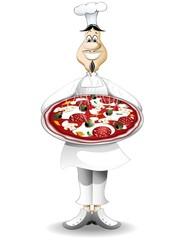 Pizzaiolo Cuoco Chef con Pizza-Cook with Pizza-2-Vector