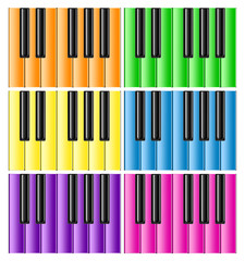 Keyboards of the classical piano with rainbow keys